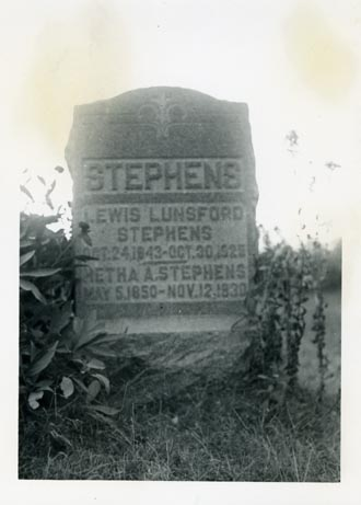 Tombstone of Lewis and Metha Stephens