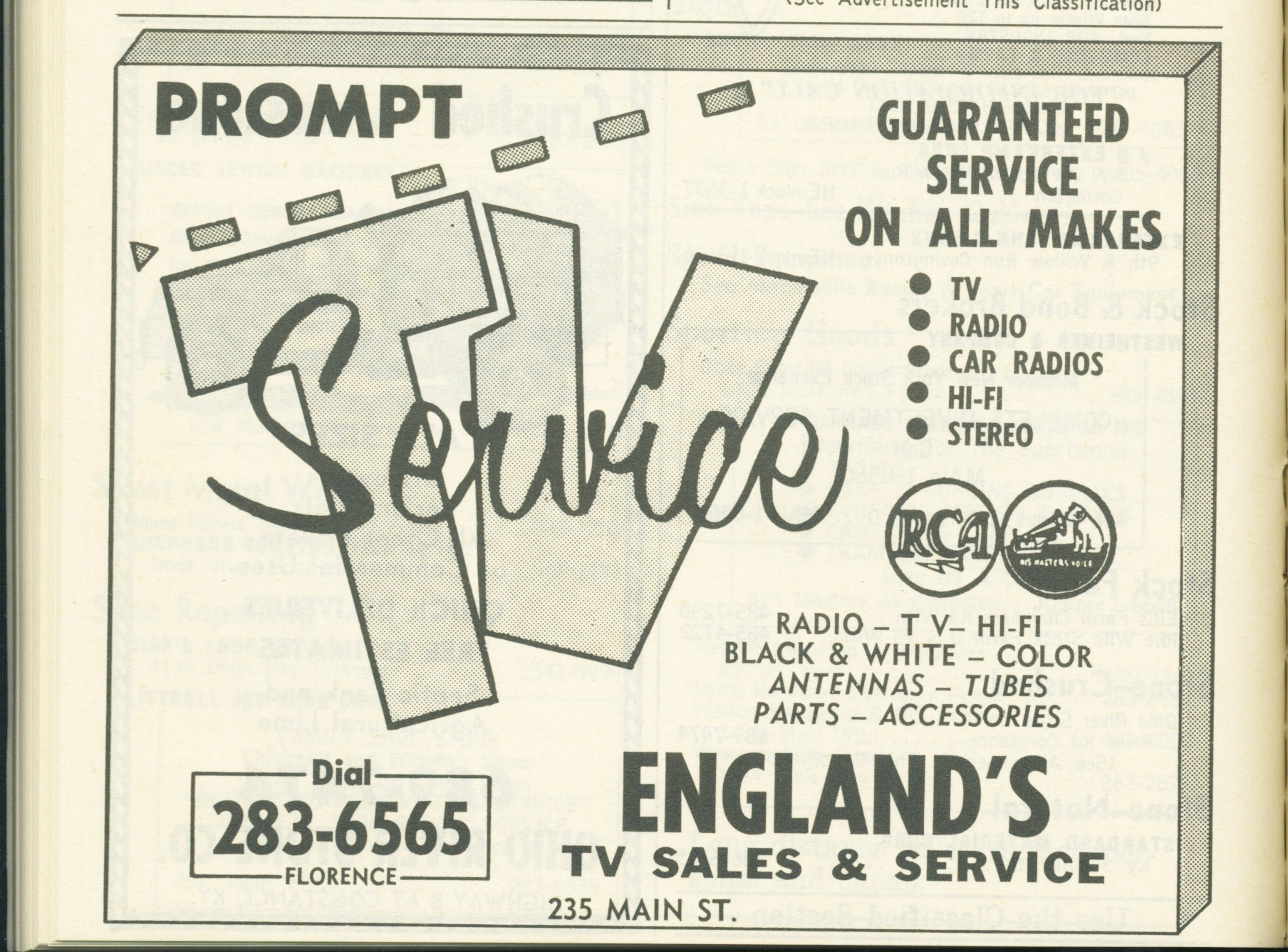 England TV Repair 1961