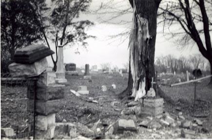 Lightening damage at Hebron Lutheran Church Cemetery